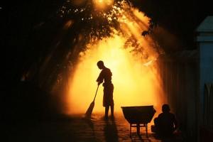 Monk Sweeping